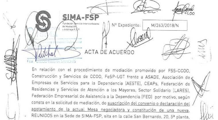 La firma del VII Convenio de la Dependencia y la constitución de la Mesa Negociadora del VIII unen a empresarios y sindicatos